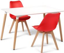 Toulouse Dining Set  - 120x80cms White Table & 2 Red Chairs